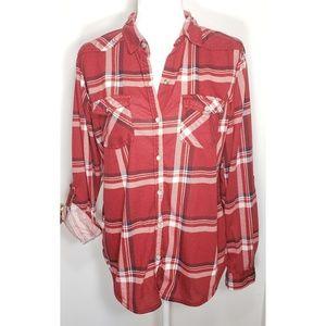 Long Sleeve Flannel Burgundy/Red